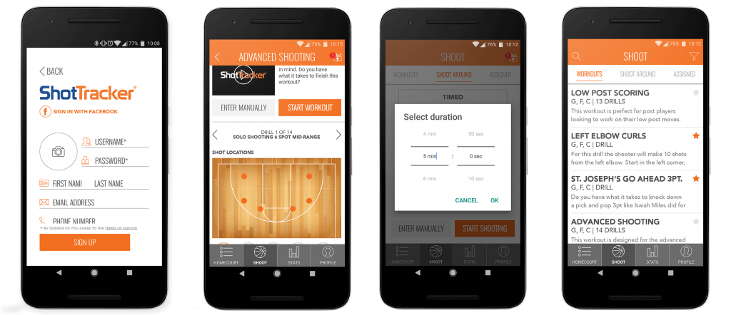 UI examples for workout app on Android smartphones