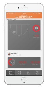 iPhone screen running an app for basketball players