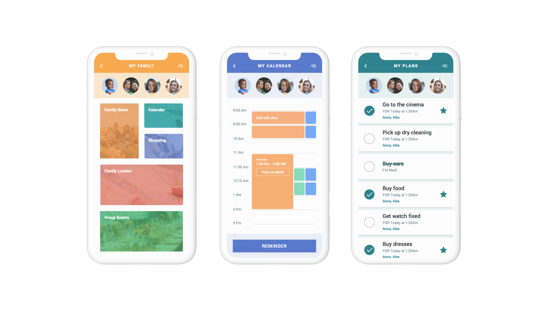 UI screens of a family organizer app