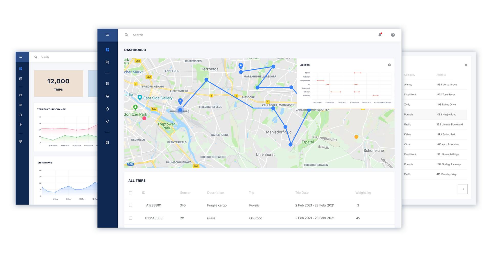 Delivery management software UI