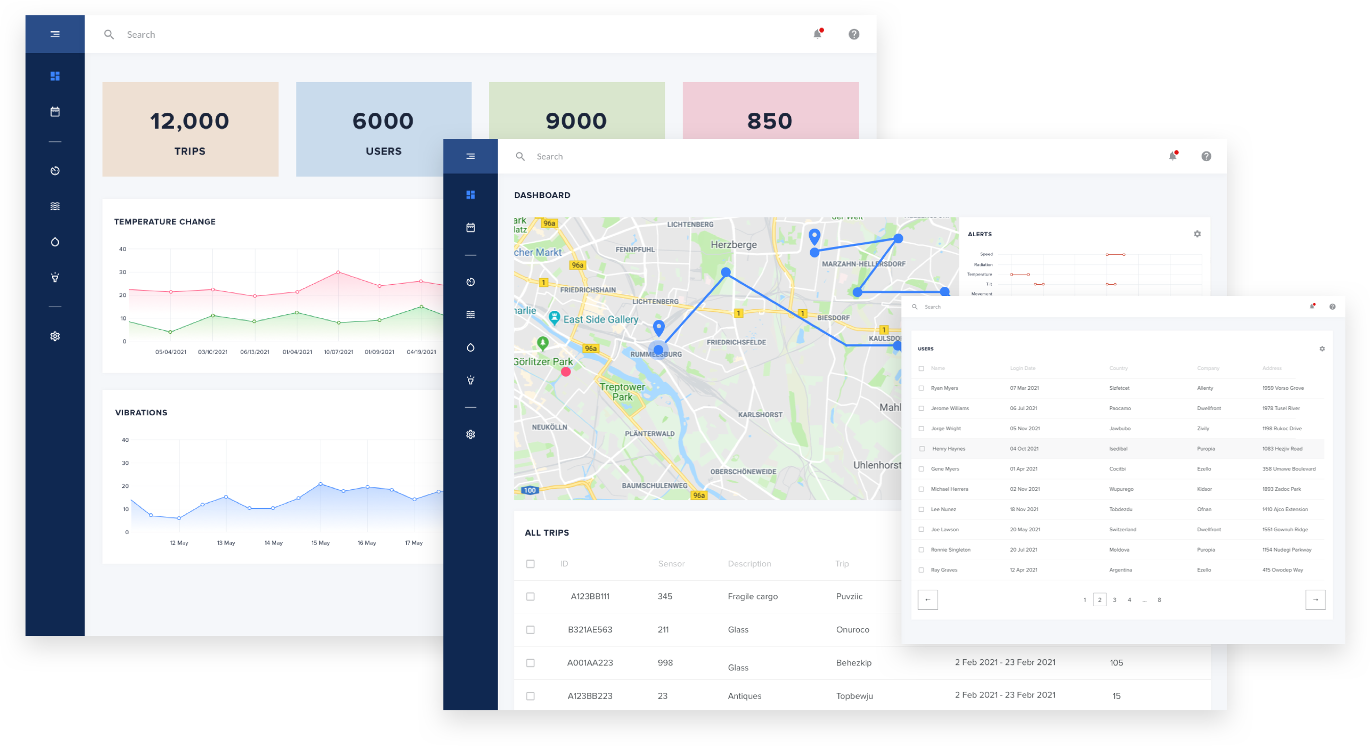 Delivery management software UI screens